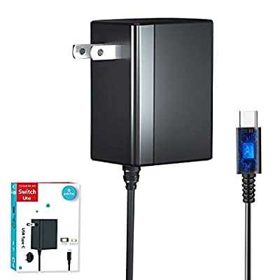Switch Charger for Nintendo Switch and Switch Lite Charger, AC Power Supply Adapter Compatible with Nintendo Switch, 15V/2.6A Support TV Mode, Fast Charger for Nintendo Switch