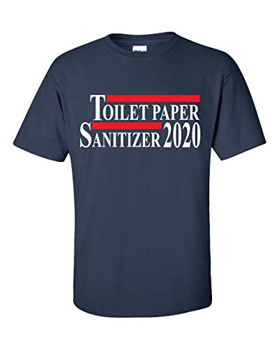Funny Toilet Paper and Hand Sanitizer 2020 Election Short Sleeve T-shirt-Navy-large