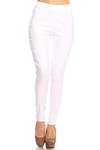 Women's Cotton Blend Super Stretchy Skinny Solid Jeggings White 1X-Large