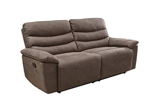 lifestyle4living 2,5 Sitzer Sofa in grau-braun mit praktischer Relaxfunktion, verstellbares Funktionssofa zum relaxen und genießen