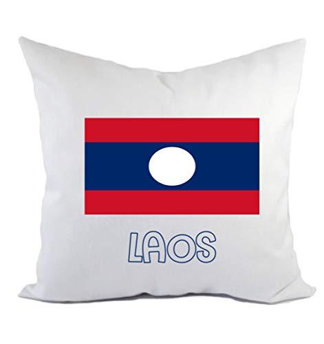 Typolitografie Ghisleri kussen Laos vlag kussensloop en vulling 40 x 40 cm van polyester