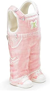 Adorable Pink Overall Vase Great Baby Nursery or Baby Shower Decor