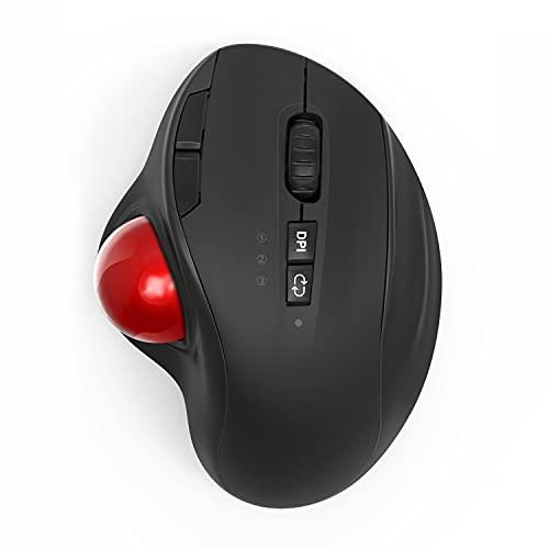 Trackball Maus Bluetooth, 2,4G Kabellose Maus Ergonomisch & Dual Bluetooth-Maus, 8 Leise Tasten und 1000 bis 2400 DPI, Wiederaufladbare Funkmaus für Computer, Laptop, Tablet(Schwarz)