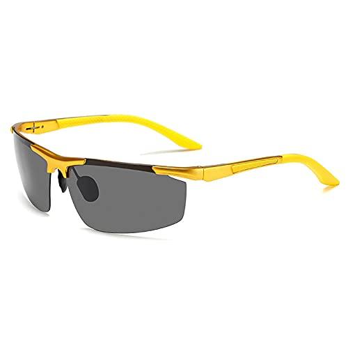 XXBFDT Gafas sol polarizadas hombres y mujeres - Gafas de sol al aire libre de conducción de magnesio de aluminio polarizado-Marco de oro