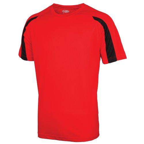 Just Cool - Camiseta Deportiva Transpirable tecnología Neoteric™ de Manga Corta para Hombre - Running/Gym/Deporte/Futbol (Grande (L)) (Rojo Fuego/Negro)
