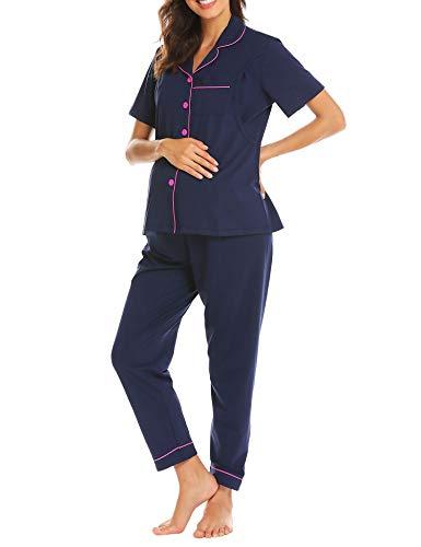 Ekouaer Damen Mutterschaft & Pflege Pyjama Set Baumwolle Stillen Nachtwäsche weiche Schwangerschaft Lounge Medium Short Ärmel -Marine-Blau
