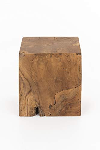 INDEX LIVING teakhouten kruk kubuskruk houten kruk zitkubus zitbank zitkruk massief
