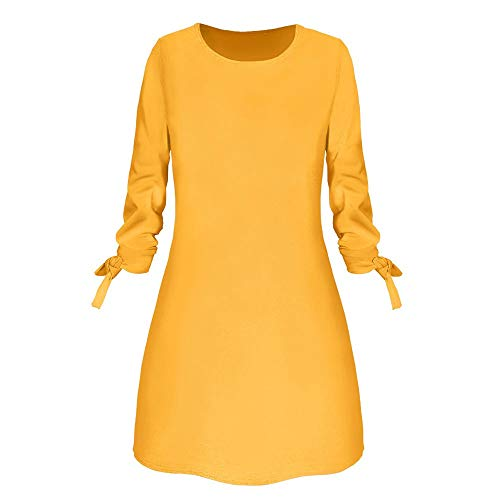 Xinantime Womens O-Neck Solid Bow Elegant Straigth Dress Spring Loose Mini Dresses(Yellow,M)