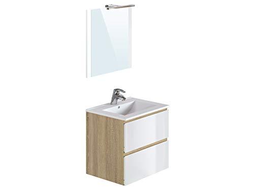 Amazon Marke -Movian Argenton - Waschtisch mit Spiegel und Waschbecken, 61x46,5x57cm, Braun