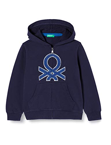 United Colors of Benetton Jungen Felpa Zip Strickjacke, Blau (Peacoat 252), 158 (Herstellergröße: EL)