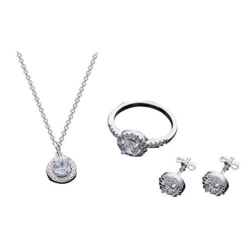 Bangle009 Damen-Ohrstecker, rund, Zirkonia, offener Ring, Halskette, Modeschmuck, Charm-Set, Silber