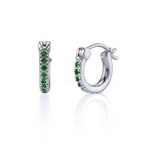 100% Real S925 Pendiente de botón de plata esterlina Pendiente de circonita verde para mujeres Niñas Pendientes Bling Crystal Fine Jewerly-7-Silver color