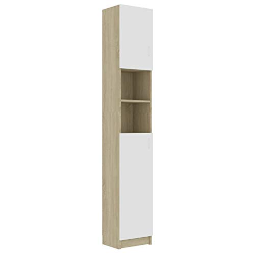 Cikonielf - Mobile da bagno, armadio in altezza, con 4 ripiani e 2 ripiani aperti, 32 x 25,5 x 190 cm, colore: bianco e rovere Sonoma