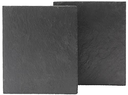 2 piatti 20 x 20 in ardesia nera naturale con bordi finitura rustica, protezioni antiscivolo sulla base, sottopiatti, adatti per uso alimentare