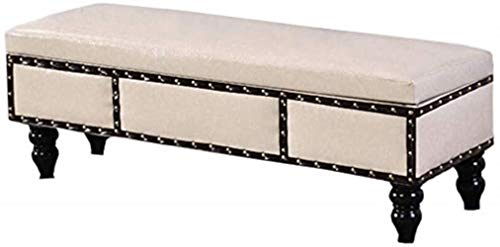 THBEIBEI Zapateros Americana Banco de Madera del Zapato, Sofá Cama heces heces, Home Box otomana Caja de Noche Corredor Mueble de casa (Color : Creamy-White, Size : 100cm)