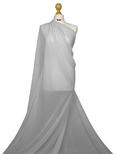 Hoogwaardige kwaliteit | Chiffon Zacht Polyester Sheer Stof | Bruidsjurk Materiaal | CH01 | van FABRIQUES Half Meter Zilver Grijs