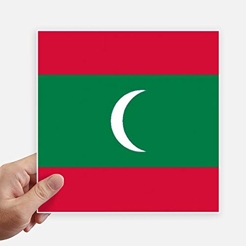 DIYthinker Drapeau National Maldives Asie Country Square Autocollants 20CM Mur Valise pour Ordinateur Portable Motobike Decal 4Pcs 20Cm X 20Cm Multicolor