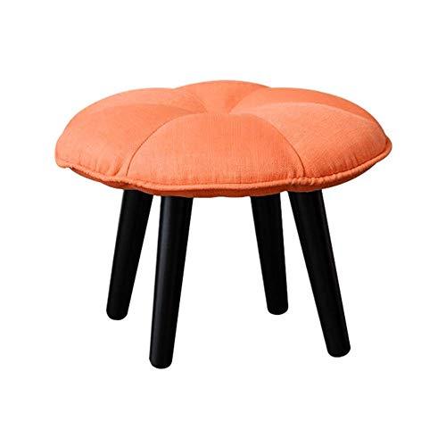 YLCJ zitzak, gestoffeerd, rond, hout, poten van hout, grote schubbenvoet, 4 poten (kleur: lichtgevend geel, maat: groot) Small Oranje