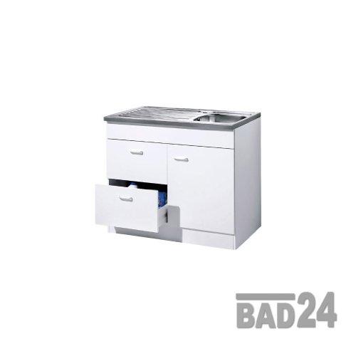 Küche-Spülenschrank/ Mehrzweckschrank 100x50 Auszüge Start Melamin weiß/weiß