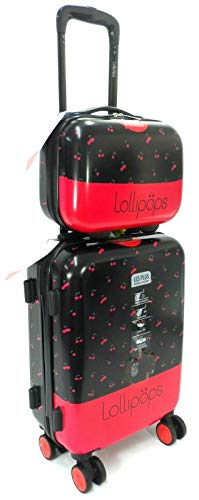 Lollipops New 20' Cabin Trolley & Vanity CASE 2PC Travel Set Suitcase Hand Luggage 8 Wheels Hard Shell Upto 40L
