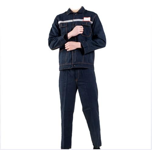 NHY Chaqueta de soldadura, algodón puro azul Denim humedad que absorbe la tira reflectante, ropa de trabajo de la chaqueta del trabajador, XXL