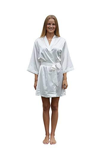 Satin Luxury Morgenmantel Damen mit Namen Bestickt - Kimono Damen Sexy - Morgen Mantel mit Stickerei personalisiert - Weiß - Einheitsgröße (36-42) - SKU 1022
