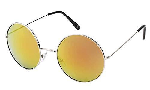 Chic-Net Gafas de Sol Redondo Grande Gafas a lo John Lennon Espejo de Naranja Estilo de Metal 400 UV
