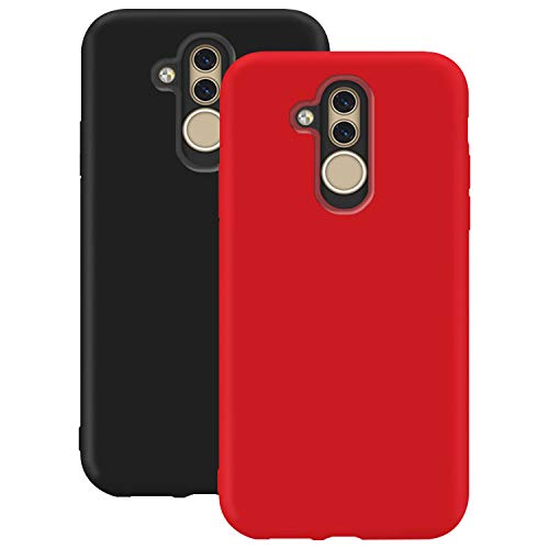 Coque en Silicone pour Huawei Mate 20 Lite, Misstars Ultra Mince Souple TPU Gel Mat Bumper Doux Léger Anti Rayure Antichoc Housse Étui de Protection pour Huawei Mate 20 Lite, Noir + Rouge