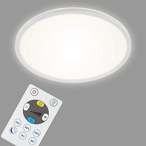 Briloner Leuchten LED Panel, Deckenleuchte dimmbar, Deckenlampe mit Backlight, inkl. Fernbedienung, 22 Watt, 3000 Lumen, Weiß, 420x29mm (DxH) 7080-016