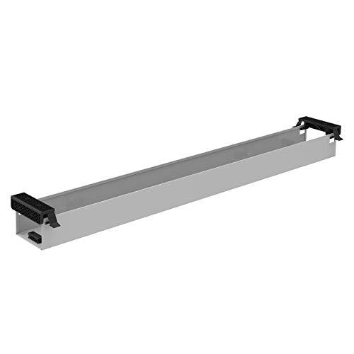 boho office® - Kabelwanne - beidseitig klappbare Kabelwanne in Silber (RAL9006) zur Installation unterhalb der Tischplatte