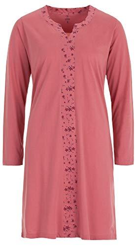 Zeitlos - Nachthemd Damen Borte Blüte Langarm Schlafshirt, Größe:XL, Farbe:Altrosa