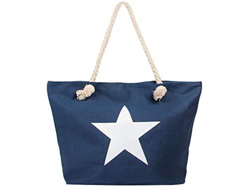 Alsino Damen Shopper Beach Bag Einkaufstasche Strandtasche - Größe: ca. 55 x 38 cm - Maritim mit Reißverschluss und Henkel, Stern Blau (TT-m30)