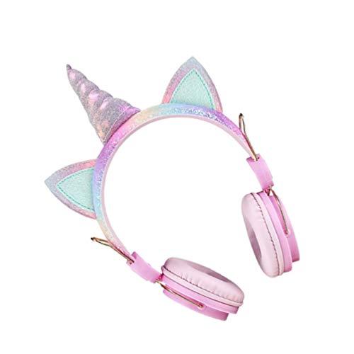 SOLUSTRE Auriculares Unicornio en La Oreja Auriculares para Niños Niñas Auriculares para La Escuela en Línea Niños (Rosa)