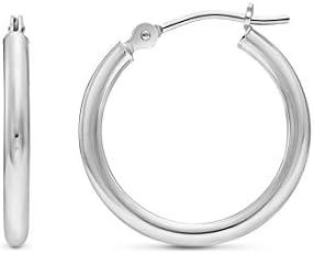 14k White Gold Classic Round Hoop Earrings