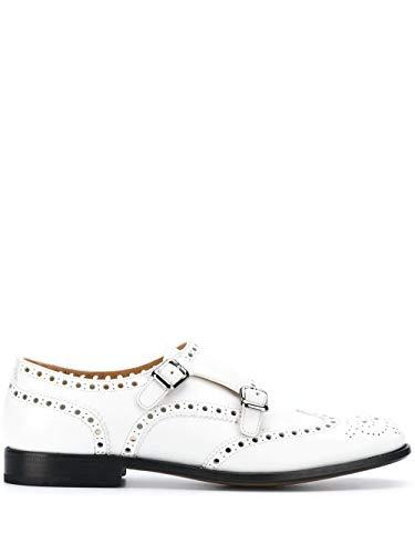Moda De Lujo   Church's Mujer DO00339LGF0ABK Blanco Cuero Zapatos con Correa Monk   Primavera-Verano 20