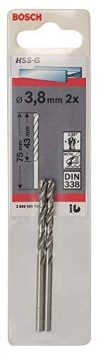 Bosch Professional Metallbohrer HSS-G geschliffen (2 Stück, Ø 3,8 mm)