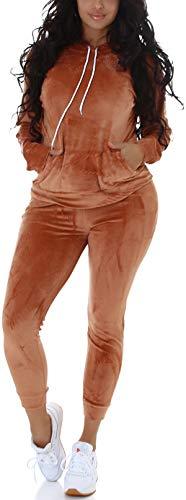 Jela London Damen Jogginganzug Nicki Velour Samt Kapuzen-Pullover mit Hose, Light-Brown 40-42 (LXL)