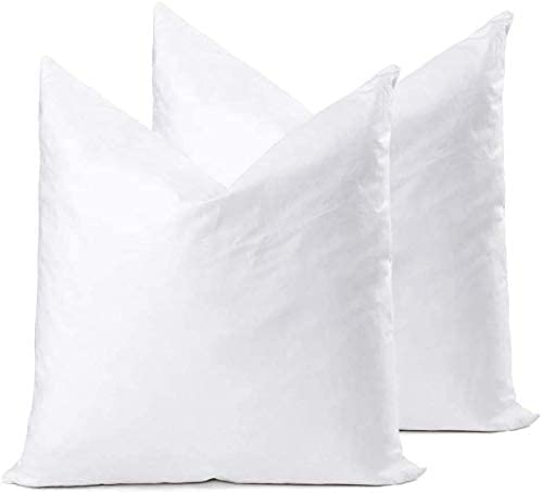 YSTHER Down Feather Throw Pillow Inserts 20x20 Set of 2 Square Form Sham Stuffer Premium Hypoallergenic Cotton Lumbar White Decorative Sofa Cushion Couch