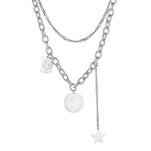 Blowin Collar de acero inoxidable plateado con colgante de moneda, collar de doble capa, gargantilla de estrella para mujer