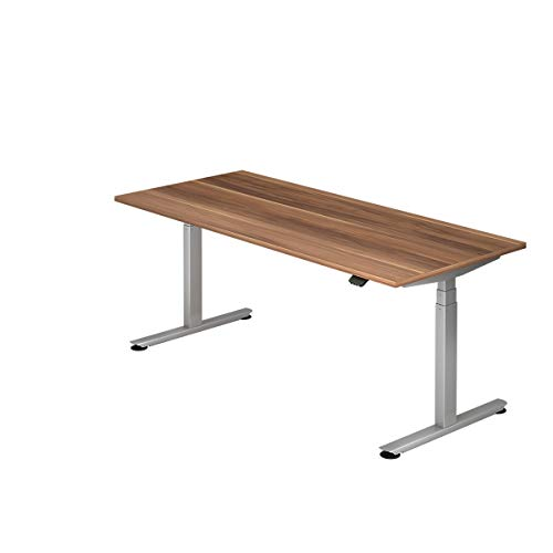 Hammerbacher Schreibtisch, elektrisch höhenverstellbar, Breite 1800 mm, Tischplatte Zwetschge | VXDLB19/Z/S