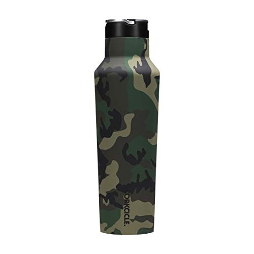 Corkcicle Canteen Sport Collection - Water Bottle Thermos - Triple Insulated Shatterproof Stainless Steel Woodland Camo 20oz