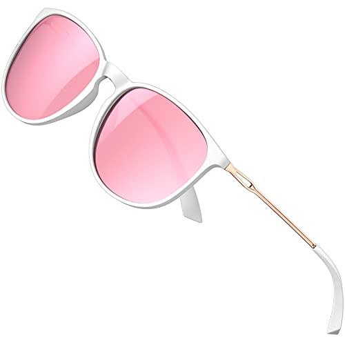 ATTCL Gafas de sol para mujer - Ultralight Driving Polarizadas Round Womens sunglass UV400 Protección, rosa (Blanco + rosa), Medium