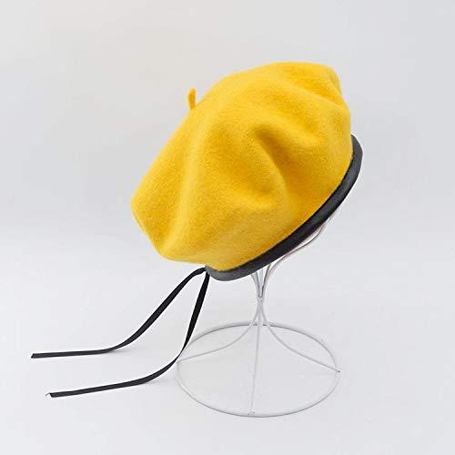 Wol baret dames winter herfst en winter hoed effen kleur met platte kop schilder hat wol baret met lederen beanie (Color : Yellow, Hat Size : 55 58cm)