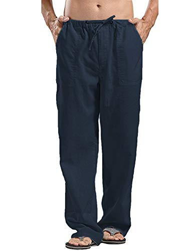 JINIDU Männer Cotton Yoga Beach Coole Lange Hosen Stretchy Drawstring Taillenhose, 1- Navy blau, M