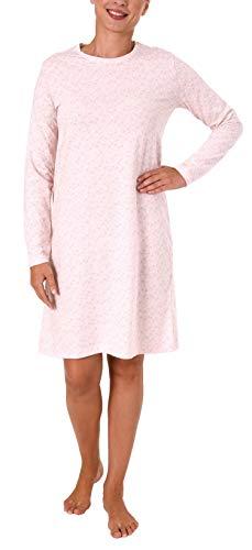 NORMANN WÄSCHEFABRIK Damen Nachthemd Bigshirt Langarm mit toller Tupfenoptik – 281 213 90 904, Farbe:rosa, Größe2:36/38