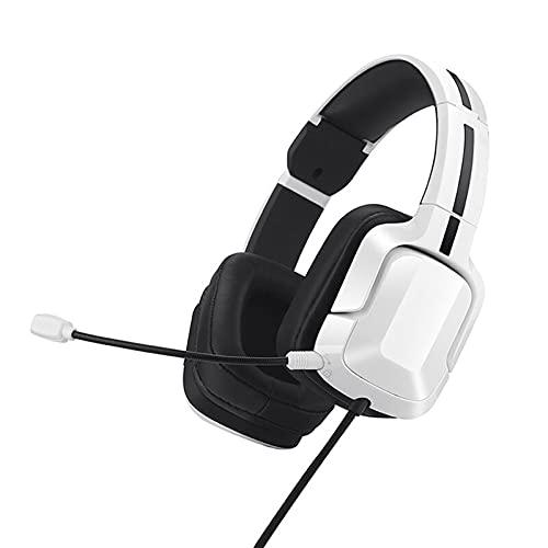 SKK Auriculares Gamer Auriculares de Juego de la Cabeza, 7.1 Canales Esports estéreo Sonido Envolvente Auricular Auriculares Auriculares, Blanco Cascos Gaming