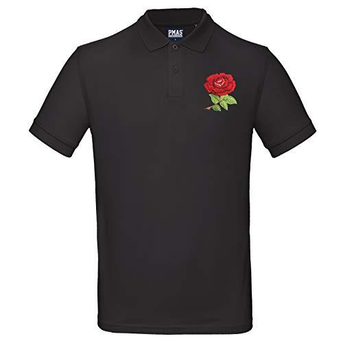 Print Me A Shirt Herren Rugby-Poloshirt, aus Bio-Baumwolle, Vintage-Rose, personalisierbar Gr. Large-104 cm/ 107 cm, Schwarz