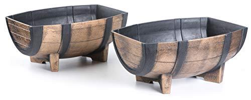 Gardenised QI003695 Rustic Wood-Look Plastic Half Barrel Flower Pot Garden Planter, Pack