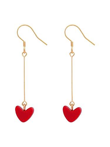 Pendientes Aretes Simple Amor Rojo Pequeño Aretes Aretes Lindo Salvaje
