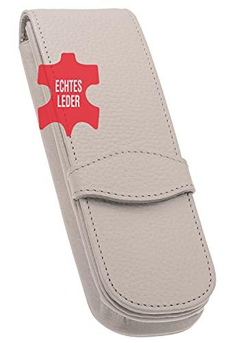ONLINE 41071 étui en cuir doux classic pour 2 stylos, en vrai cuir de qualité supérieure, gris, accessoire tendance pour des stylos